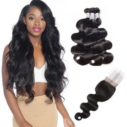 Wholesale Only Products - Brazilian Virgin Hair Weaves 3 Bundles With Closure Hair 1B Soft Body Wave Peruvian Human Hair Top Lace Closures With Weft Products