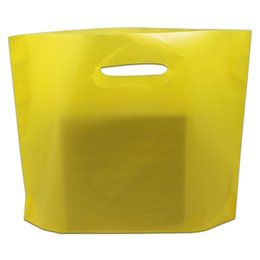 snack plastic packaging Promo Codes - 50Pcs lot Yellow Plastic Package Bag Party Gifts Carrier Packing Bag with Handle for Grocery Store Retails Snack Packaging