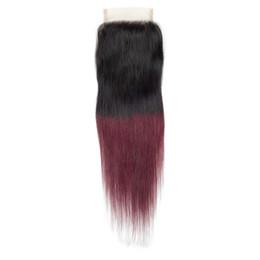Два тонных цвета наружных прямых волос онлайн-Ombre волос кружева закрытия два тона 1b / бордовый 99j пре цветные волосы Реми свободная часть закрытия с волосами младенца