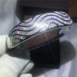 Wholesale Bracciale a maglie ondulate fatte a mano con incastonatura del canale Diamond S925 Bracciale rigido d argento pieno di fidanzamento per le donne accessaries matrimonio