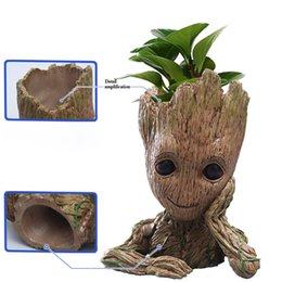 Wholesale Galaxies Stars - Fashion Guardians of The Galaxy Flowerpot Baby Groot Action Figures Cute Model Toy Pen Pot Best Christmas Gifts For Kids Collect toys