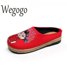 Wholesale Brides Slippers - Wegogo Women Slippers Casual Wedding Bride Embroidery Linen Cotton Handmade Shoes Ladies Canvas Hemp Soft Shoes Zapato Mujer