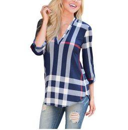 Wholesale ladies three quarter sleeve blouses - 2017 Autumn Fashion Ladies Top V Neck Tops Tee Plaid Women Blouse Shirt Three-quarter Sleeve Casual Feminine Blouses
