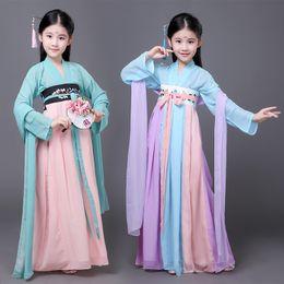 2019 chinese trajes tradicionais mulheres Crianças chinês tradicional hanfu meninas vestido miúdo antigo chinês hanfu vestido traje tang roupas para menina trajes chinese trajes tradicionais mulheres barato