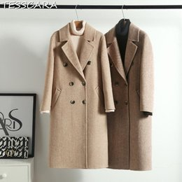d9bd3a7d93a TESSCARA Women Autumn   Winter Warm Cashmere Jacket Coat Female Wool Blend  Trench Long Overcoat Basic Jackets Outerwear   Coats
