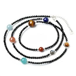 Wholesale Black Moonstone Ring - Korean Version of The Retro Black Crystal Bracelet Female Male Dream Temperament Moonstone Blue Sky Multi-circle Bracelet