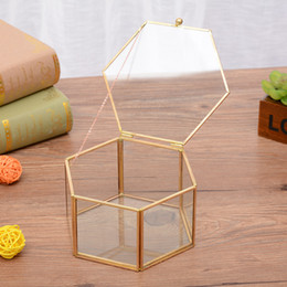 Wholesale Metal Planter Boxes - Geometrical Clear Glass Jewelry Box Gold Storage Boxes for Jewelry Organize Holder Tabletop Succulent Plants Planter