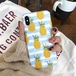 2019 iphone verano Para Iphone X Phone Cases Pineapple Summer PC amigable con el medio ambiente PC Hard Scrub Injection Cell Phone Case para Iphone 6 7 8 Plus iphone verano baratos