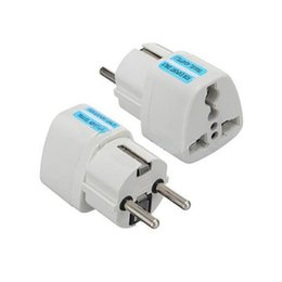 plug eu au travel white Promotion International DE EU Adaptateur Voyage Universel Électrique EU Plug Pour UK US AU à European Socket Converter Blanc