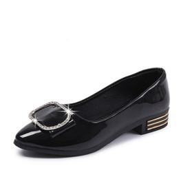 Otoño de charol de diamantes zapatos Laides planos zapatos cómodos mujeres ballet pisos femeninos negro carrera zapatos de oficina embarazadas señoras zapato desde fabricantes