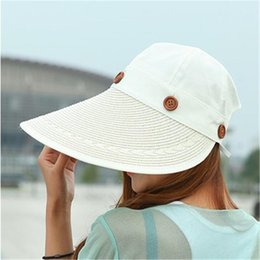 Wholesale Women Summer Anti Uv Hat - Hats Women Wide Large Brim Floppy Summer Beach Sun Hat Straw Hat Button Cap Summer Hats For Women Anti-uv Visor Cap Female