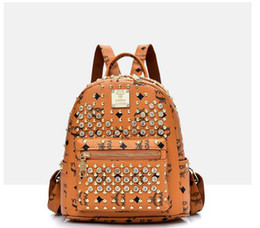 19f7d00f46fa brand PU leather designer backpack handbag lady Backpack Anti Theft brief Laptop  Knapsack Waterproof girl Women Travel Bag Rivet knapsack