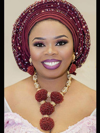 семена установлены Скидка Мода вино Бургундия женщины Африканский нигерийский свадебные ювелирные наборы вино семян бисера кулон заявление ожерелье набор Невеста 2018 WE134