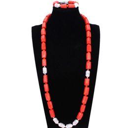 Pulseiras de coral laranja on-line-4UJewelry Nigeriano Homens Natureza Original Coral Beads Set Jóias Para Casamentos Nigerianos Laranja Africano Bridal Necklace Bracelet