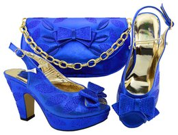 Wholesale Burgundy Peep Toe Pumps - oyal Blue Color Italian Shoes And Bag Set African Matching Shoes And Bags Free Shipping Nigerian Party Shoes M005