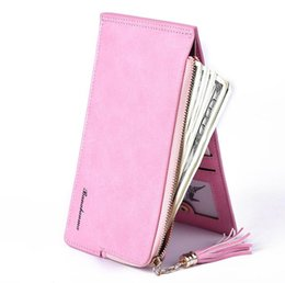 Wholesale Fashionable Phones - Fashionable womens wallet long section of Europe and the United States retro fashion multi-card zipper frosted pickup cell phone bag