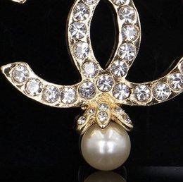 Wholesale Luxury Ear Cuffs - Luxury Brand Designer Letter C Double Rhinestone Brooch Gold & Silver Jewellery Suit Lady Jewelry Accessories M-4 M-13 M-14 M-15