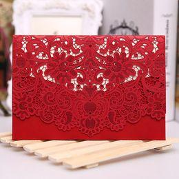 Wholesale Elegant Gold Wedding Invitations - Red White Gold Laser Cut Wedding Invitation Card Luxurious Elegant Pocket Folded Wedding Invitations 100pcs