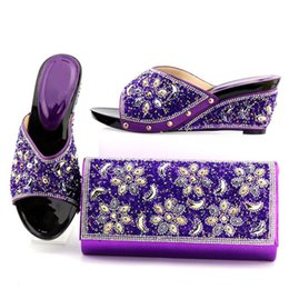 Wholesale Yellow Shoes Matching Bag - Comfortable high quality women's shoes and bags, African women matched with beaded Italian shoes and bags. AB24-1