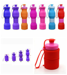 Wholesale Silicone Water Bottles - 800ml Creative Outdoor Travel Eco-Friendly Folding Silicone Water Bottle Retractable Silicone Sport Cycling Kettle 7 Colors DDA406