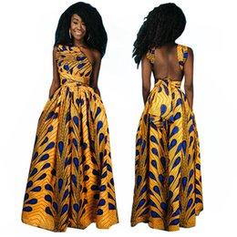 Wholesale Peacock Floral - Women African Clothing Dashiki Peacock feather print maxi Dress African Tranditional Woman one shoulder backless Dashiki Dress