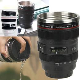 Câmera de aço inoxidável caneca de café on-line-Copo Da Lente Da câmera 400 ml Caneca De Café De Aço Inoxidável Liner Xícara De Chá 5 Geração Tumbler Caneca de Viagem Lente SLR Garrafa Novidade Presentes HH-C23