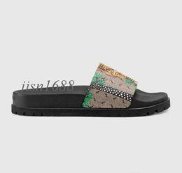 Trek green on-line-Mens moda verde tigre de bengala impressão de couro trek sandálias de slides com sola de borracha grossa tamanho euro 38-45
