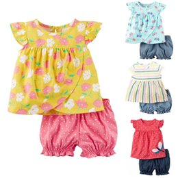Wholesale yellow colour flower girl dresses - Flower Baby Girl Clothes Set Children Dresses Newborn Outfits Cotton Clothing Suit Girls Blouse Short Pant 6 9 12 18 24 Month