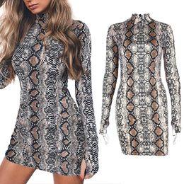 Wholesale snake print dresses - 2018 Spring Snake Skin Long Dress Ladies Sexy Turtle Neck Bodycon Party Mini Dresses Short Sleeve Women Clothes RF0898