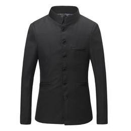 Wholesale Cheap Blazers Jackets - Custom Stand Collar Men Suits Jacket Tuxedo Wedding Party Homme Black Blazers Slim Fit Cheap Suits Mens Western Jackets