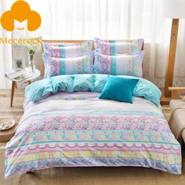 Wholesale Light Pink Queen Sheet Set - Wholesale- 2017 MECEROCK Spring New Printed Pastoral style Duvet Cover Set Flat Sheet Pillowcases Twin Full Queen Polyester Bedding Set