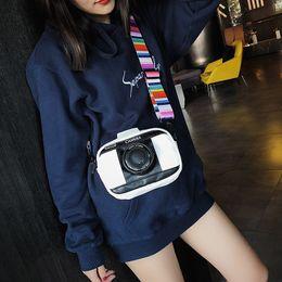 2019 bolso en forma de camara Personalidad Camera Shape Pu bolso de hombro Crossbody Messennger Bag Colorful Shoulder Strap mujeres bolsos monedero monedero bolso en forma de camara baratos
