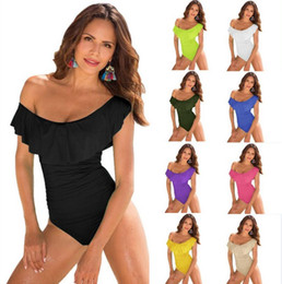Wholesale swimsuit beachwear - Women Ruffle Swimsuit Bikini Summer Bathing Suit Beachwear Swimwear One Piece Swimsuit Monokini Push Up Padded Bikini Bathing EEA155
