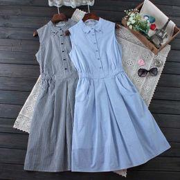 e0d9512905 Japanese Summer Sweet Dress Women s Plaid Button Mid Calf Slim Waist  Sleeveless Plaid Female Vestido Casual Dress Mori Girl C112 D1891304