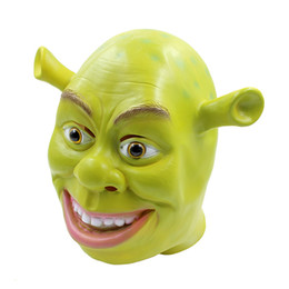 Maschera divertente adulto online-2017 New Monster Shrek Maschera di Halloween per adulti Dance Horror Head Set Party Decorating Funny Face Mask Puntelli di danza faccia spaventoso