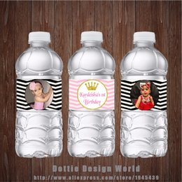 Wholesale wrappers baby - 20 Pcs  Lot Gold Glitter Crown Your Own Photo Water Bottle Labels Candy Bar Wrapper Baby Shower Birthday Party Decoration Supply