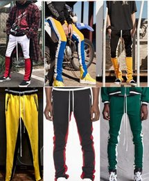 Wholesale Gray Pants Fashion - 2018 NEW justin bieber Yellow blue red white stripes splice men pants hip hop Fashion Fear of God Fog pocket Side zipper jogger pants 3Color