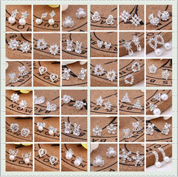 Wholesale Earrings Wholesale Mixed Order Silver - Mixed order Multi style Extravagance and glittering fashion delicate Rhinestone Ear Studs pearl earrings girl Madam jewelry 20Pairs lot