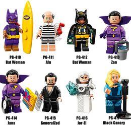 Wholesale Bats Women - Super Heroes Series Mix Lot Bat Woman Afu Zan Black Canary GeneralZod Superman Jor-EL Jana PG8107 Minifig Mini Building Blocks Figures