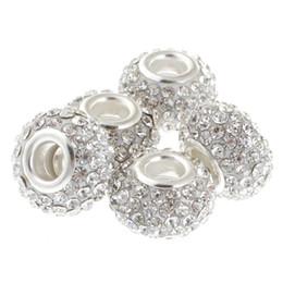 esferas de cristal chandelier Rebajas 15 mm de gran calidad de gran agujero grande cristalino checo del encanto de los granos en forma de pulsera del encanto europeo (10 unids, blanco, 15 mm)