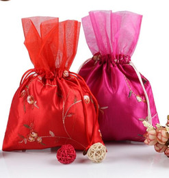 Bordado de seda de organza on-line-Chinês tradicional Bordado Fruta Patchwork Organza Favor de Casamento Sacos de Grande Tecido De Seda Chinesa Cordão frete grátis