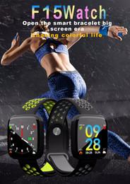 2019 máquina de tarifa F15 Bluetooth Sports reloj inteligente pulsera ritmo cardíaco presión arterial sangre oxígeno máquina de fitness mensaje de alarma recordatorio para xiaomi mi3 IOS máquina de tarifa baratos