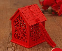 Exquise maison forme mariage boîte à bonbons style chinois rouge en bois bonbons boîtes de chocolat décoration de fête SN1300 ? partir de fabricateur