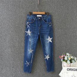 e61abe2c43fc Skinny Jeans Woman High Waist Pencil Jeans Stars Pattern Ripped Denim Pants  Slim Large Size Summer Casual Clothes 2018 Newest affordable painted jeans  women