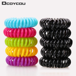 Wholesale Black Spring Hair Bands - Candy colored telephone line hair ring,Hair Accessories ,hair rope, spring rubber band, mix 20pcs lot