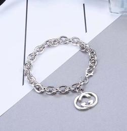Parole del braccialetto online-donne regalo grande catena Chunky Bracelet S925 argento Nuova moda braccialetto gioielli con parole G marchio ciondolo estate perfetto stile punk
