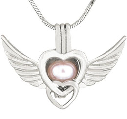 Canada New Antique Silver Angel Wings Amour Coeur Pendentif Colliers pour Femmes Perle Médaillon Charmes Cage Pendentif 190 Styles CP036 supplier antique wings Offre