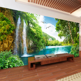2019 cachoeiras fotográficas Papel de parede Foto Personalizado 3D Mural Wallpaper Home Decor Green Mountain Waterfall Natureza Paisagem 3D para sala de estar Quarto cachoeiras fotográficas barato