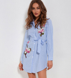 Wholesale Embroidery Mini Dress Design - Women Striped Shirt Dresses Spring Summer Embroidery Flower Dress Sashes Single Breasted Irregular Design Casual Clothing Wear