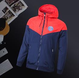 Куртки для продажи онлайн-PSG осень тонкие куртки для мужчин Paris saint germain MBAPPE футбольная куртка ветровка горячие продажа толстовки спорт с капюшоном пальто мужской Sportwears